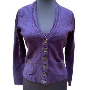 Ann Taylor Purple Merino Cropped Cardigan
